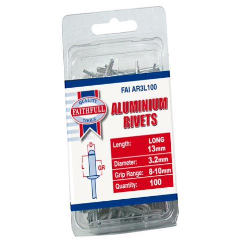 Faithfull Aluminium Rivets 3mm Long