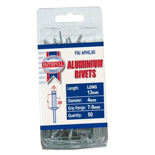 Faithfull Aluminium Rivets 4mm Long