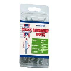 Faithfull Aluminium Rivets 4.8 X 8mm Short