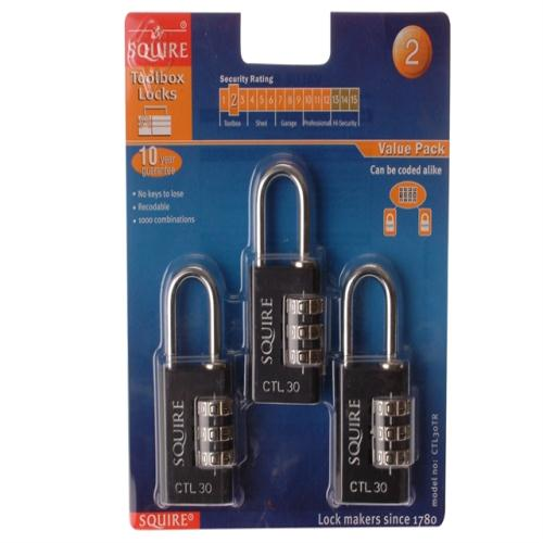Henry Squire Black Combi Padlock 30mm Pk3
